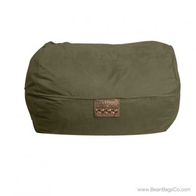 6- Foot Microsuede Bean Bag Chair - Mod Pod Classic Olive Lounger