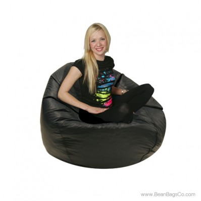 Jumbo Classic PVC Vinyl Bean Bag Chair - Black