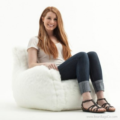 Big Joe Lusso Bean Bag Chair - White Fur