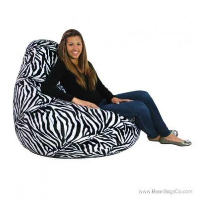 Extra Large Soft Velvet Fun Factory Bean Bag Chair - Pure Bead Zebra Print