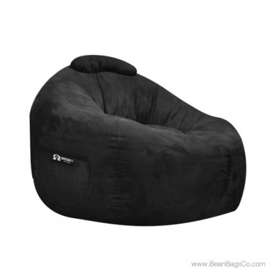Soft Suede Omega Bean Bag Chair - Black Lounger