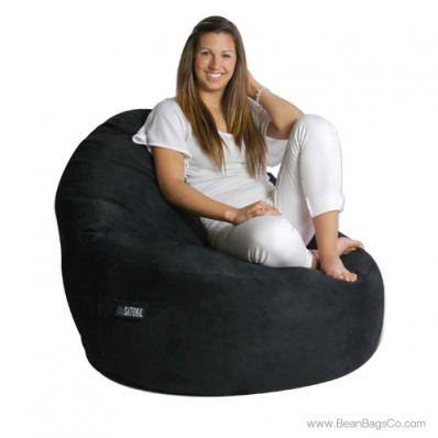 1- Seater Sitsational Lounger- Soft Suede Black Bean Bag Chair