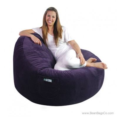 2- Seater Sitsational Bean Bag Chair- Deluxe Cord Dark Purple Lounger