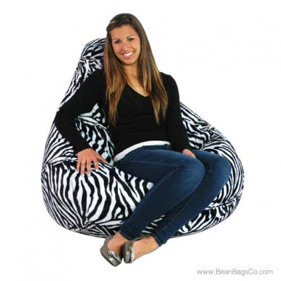 Soft Velvet Pure Bead Bean Bag Chair - Animal Print Zebra