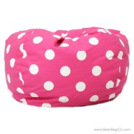 Classic Bean Bag Chair - Candy Pink w/ White Dots