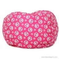 Classic Bean Bag Chair - Pink w/ White Peace Symbols