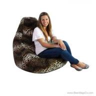 Extra Large Soft Velvet Fun Factory Bean Bag Chair - Pure Bead Animal Print