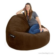 2- Seater Sitsational Bean Bag Chair- Deluxe Cord Chocolate Brown Lounger
