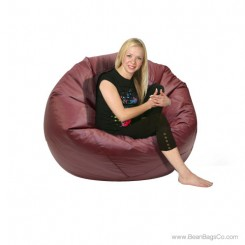 Jumbo Classic PVC Vinyl Bean Bag Chair - Burgundy