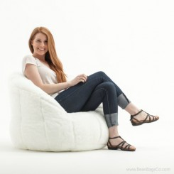Big Joe Milano Bean Bag Chair - White Fur