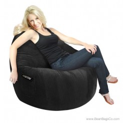1- Seater Sitsational Bean Bag Chair- Deluxe Cord Black Lounger