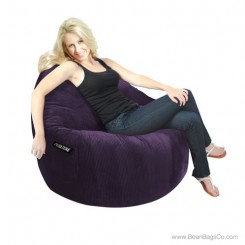 1- Seater Sitsational Bean Bag Chair- Deluxe Cord Dark Purple Lounger
