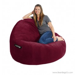 2- Seater Sitsational Bean Bag Chair- Deluxe Cord Berry Lounger