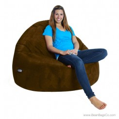 2- Seater Sitsational Bean Bag Chair- Soft Suede Chocolate Lounger