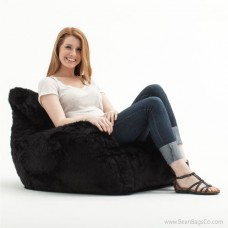 Big Joe Lusso Bean Bag Chair - Black Fur
