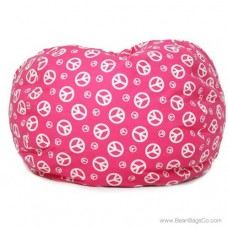 Classic Bean Bag Chair - Pink w/ White Peace Symbols