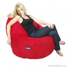 1-Seater Sitsational Lounger - Soft Suede Lipstick Red Bean Bag Chair