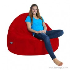 2- Seater Sitsational Bean Bag Chair- Soft Suede Lipstick Red Lounger