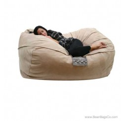 6- Foot Microsuede Bean Bag Chair - Mod Pod Classic Fawn Lounger