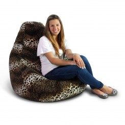 Extra Large Soft Velvet Fun Factory Bean Bag Chair -Pure Bead Leopard Print