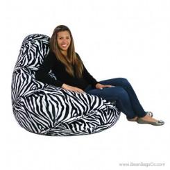 Extra Large Soft Velvet Fun Factory Bean Bag Chair - Pure Bead Zebra Print