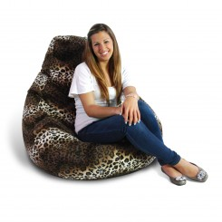 Soft Velvet Pure Bead Bean Bag Chair - Animal Print Leopard