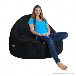 2- Seater Sitsational Bean Bag Chair- Soft Suede Black Lounger